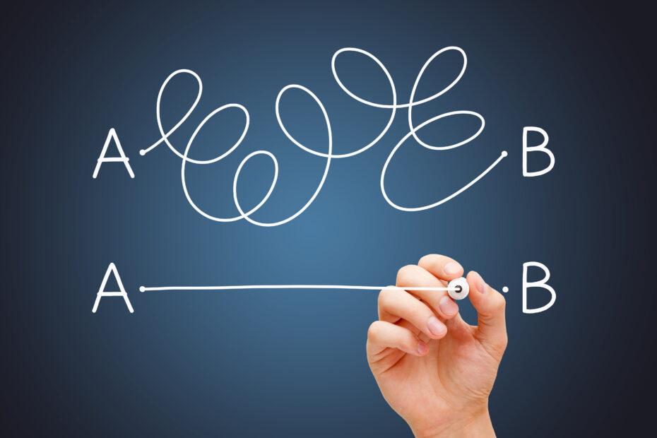 Pisteestä A pisteeseen B voi päästä sekä monimutkaisella että yksinkertaisella tavalla.